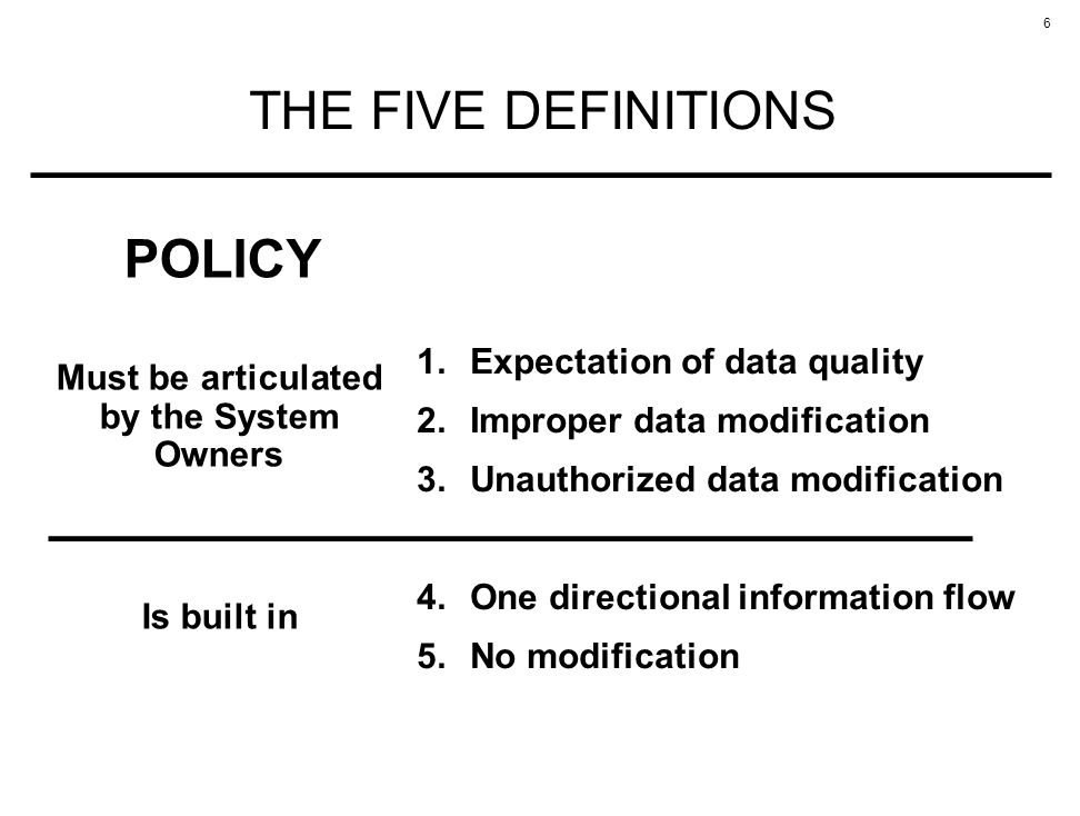 6 THE FIVE DEFINITIONS 1.Expectation of data quality 2.Improper data modification 3.Unauthorized data modification 4.One directional information flow 5.No modification Must be articulated by the System Owners POLICY Is built in