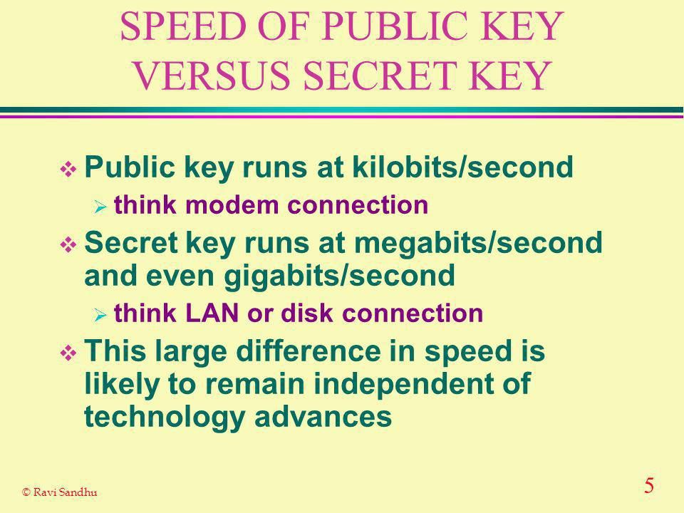 5 © Ravi Sandhu SPEED OF PUBLIC KEY VERSUS SECRET KEY Public key runs at kilobits/second think modem connection Secret key runs at megabits/second and even gigabits/second think LAN or disk connection This large difference in speed is likely to remain independent of technology advances