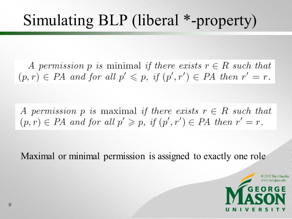 © 2005 Ravi Sandhu www.list.gmu.edu 10 Constraints for simulating BLP