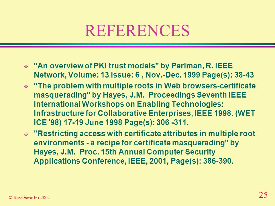 25 © Ravi Sandhu 2002 REFERENCES An overview of PKI trust models by Perlman, R.