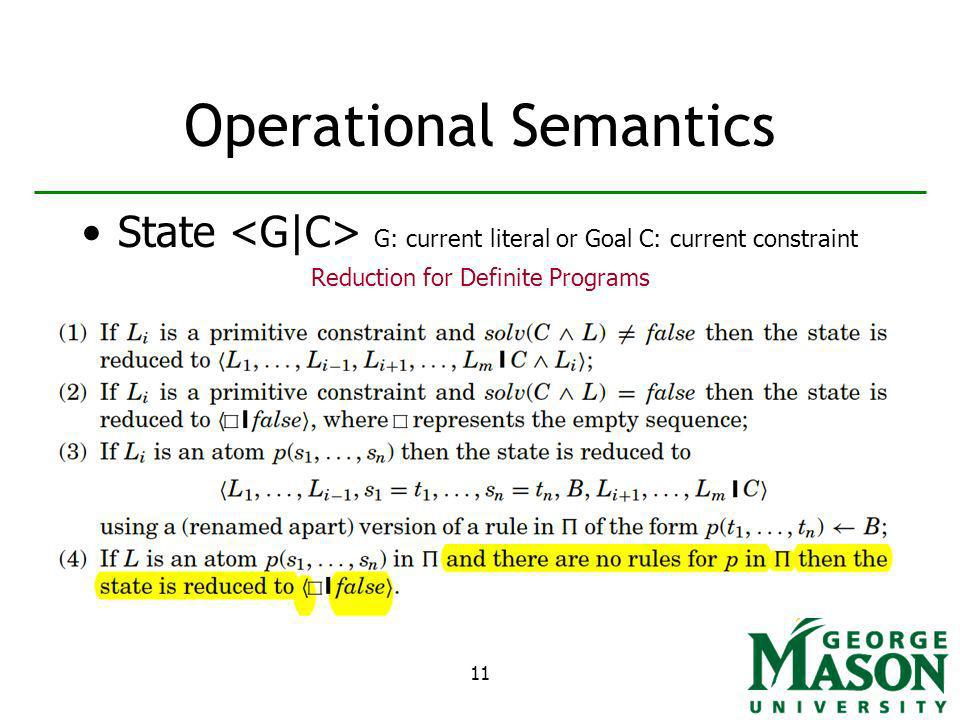 11 Operational Semantics State G: current literal or Goal C: current constraint Reduction for Definite Programs