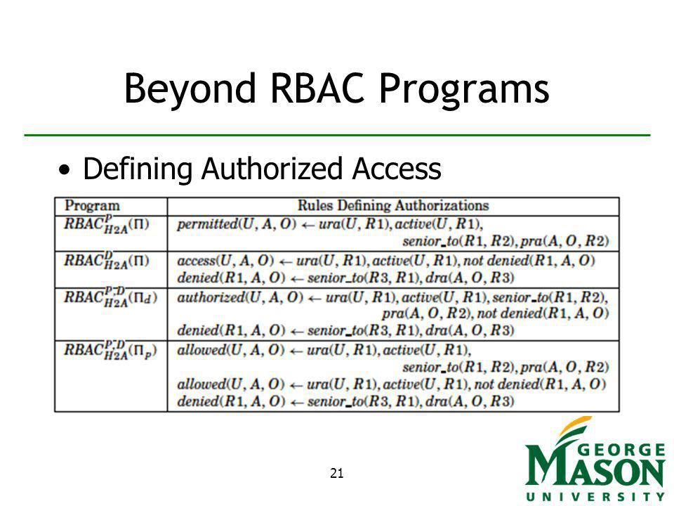 21 Beyond RBAC Programs Defining Authorized Access