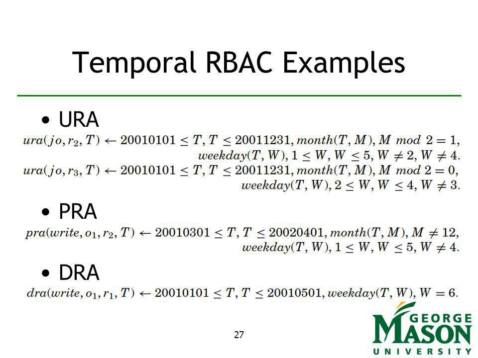 27 Temporal RBAC Examples URA PRA DRA