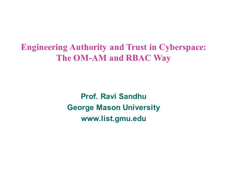 12 © Ravi Sandhu 2000 MODEL CUSTOMIZATION u Each session has a single role u SM = {sm1, …, smk}, simulation models u OP = {op1, …, opl}, operations u P= SM X OP, permissions u SMA = {sma1, …, smk}, administrative roles R SMA = u Admin: SM SMA
