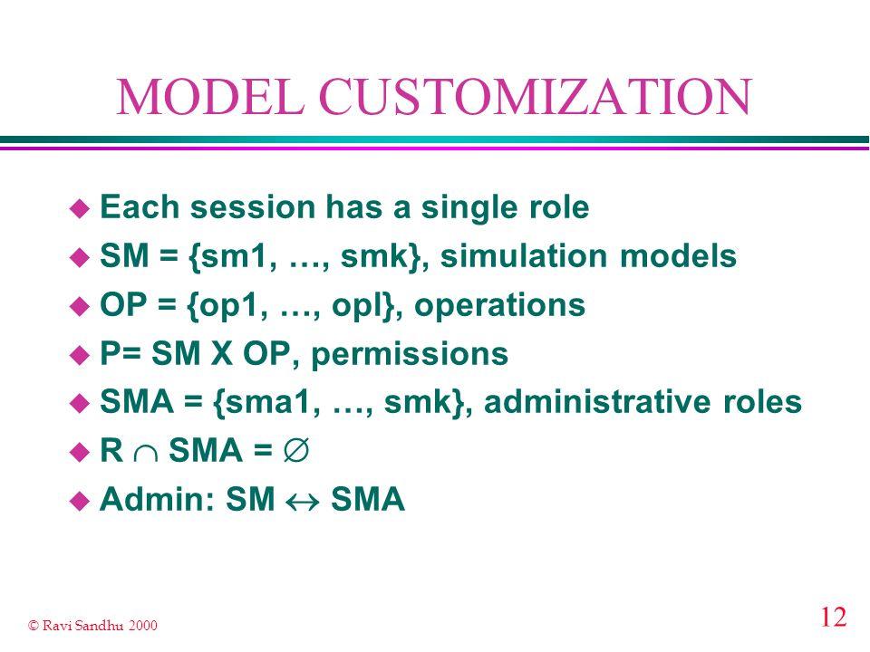 12 © Ravi Sandhu 2000 MODEL CUSTOMIZATION u Each session has a single role u SM = {sm1, …, smk}, simulation models u OP = {op1, …, opl}, operations u