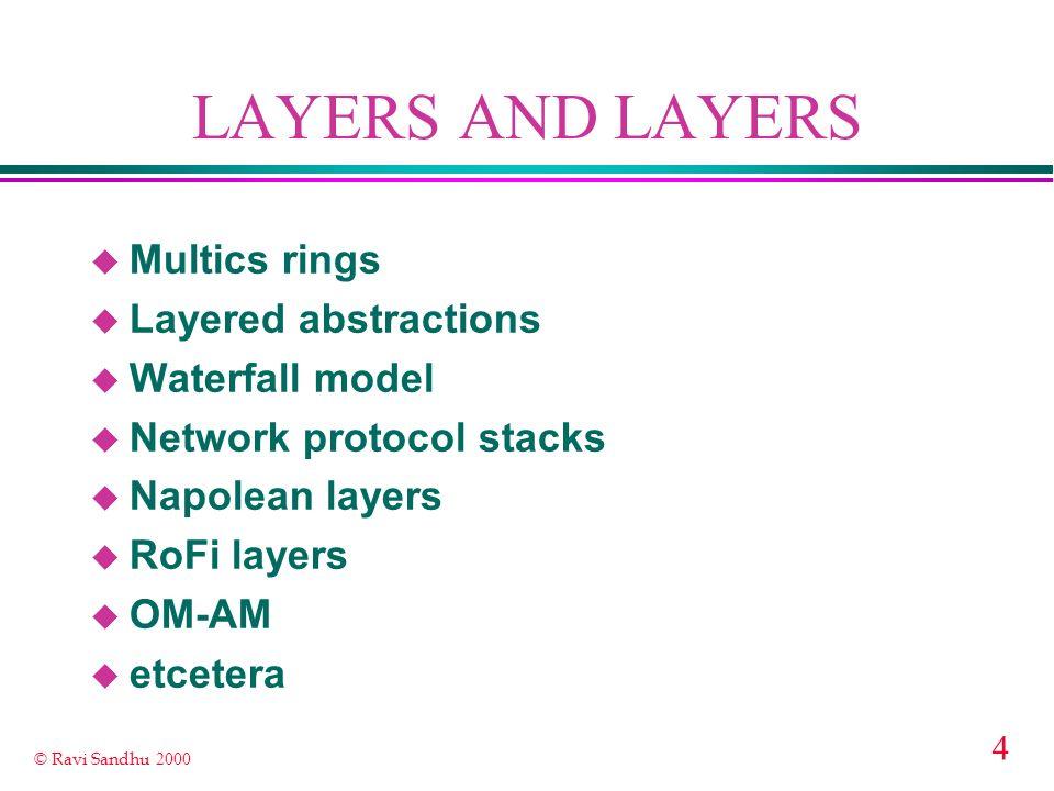 4 © Ravi Sandhu 2000 LAYERS AND LAYERS u Multics rings u Layered abstractions u Waterfall model u Network protocol stacks u Napolean layers u RoFi lay