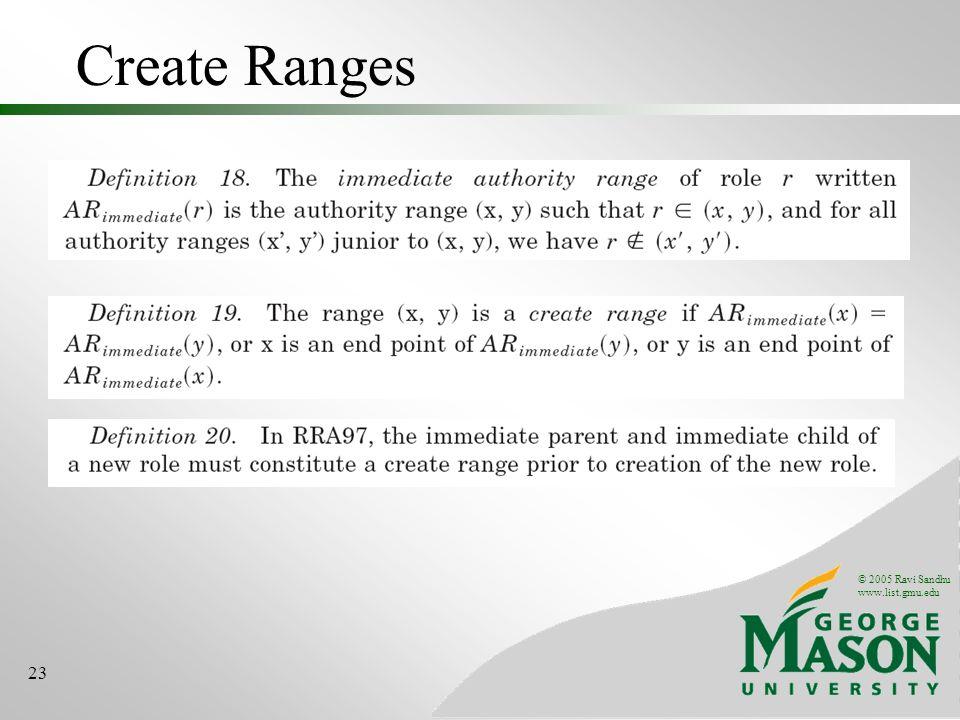 © 2005 Ravi Sandhu www.list.gmu.edu 23 Create Ranges
