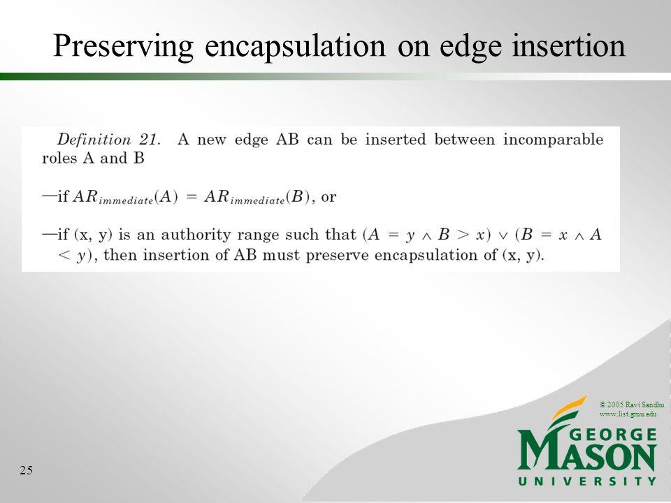 © 2005 Ravi Sandhu www.list.gmu.edu 25 Preserving encapsulation on edge insertion