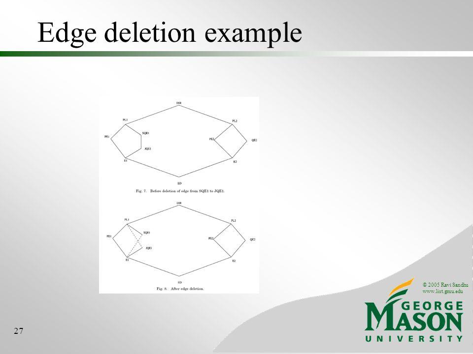 © 2005 Ravi Sandhu www.list.gmu.edu 27 Edge deletion example
