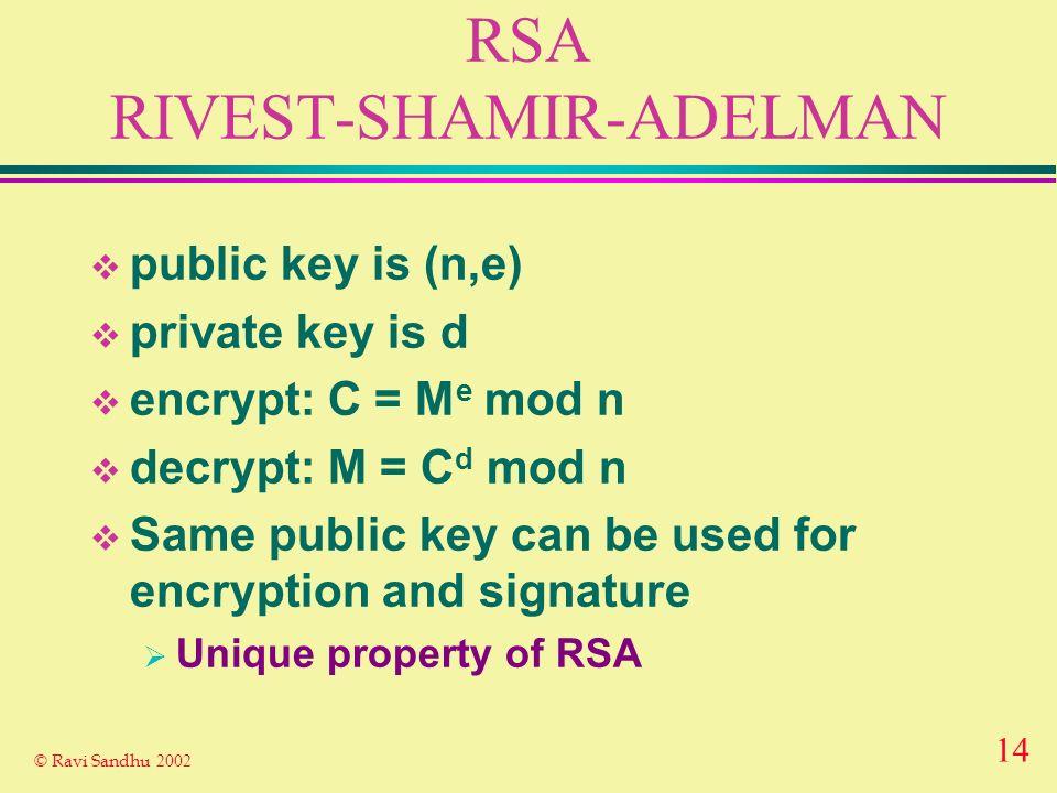 13 © Ravi Sandhu 2002 MESSAGE DIGESTS (HASH FUNCTIONS) message digest algorithm original message no practical limit to size message digest 128 bit/160 bit easyhard