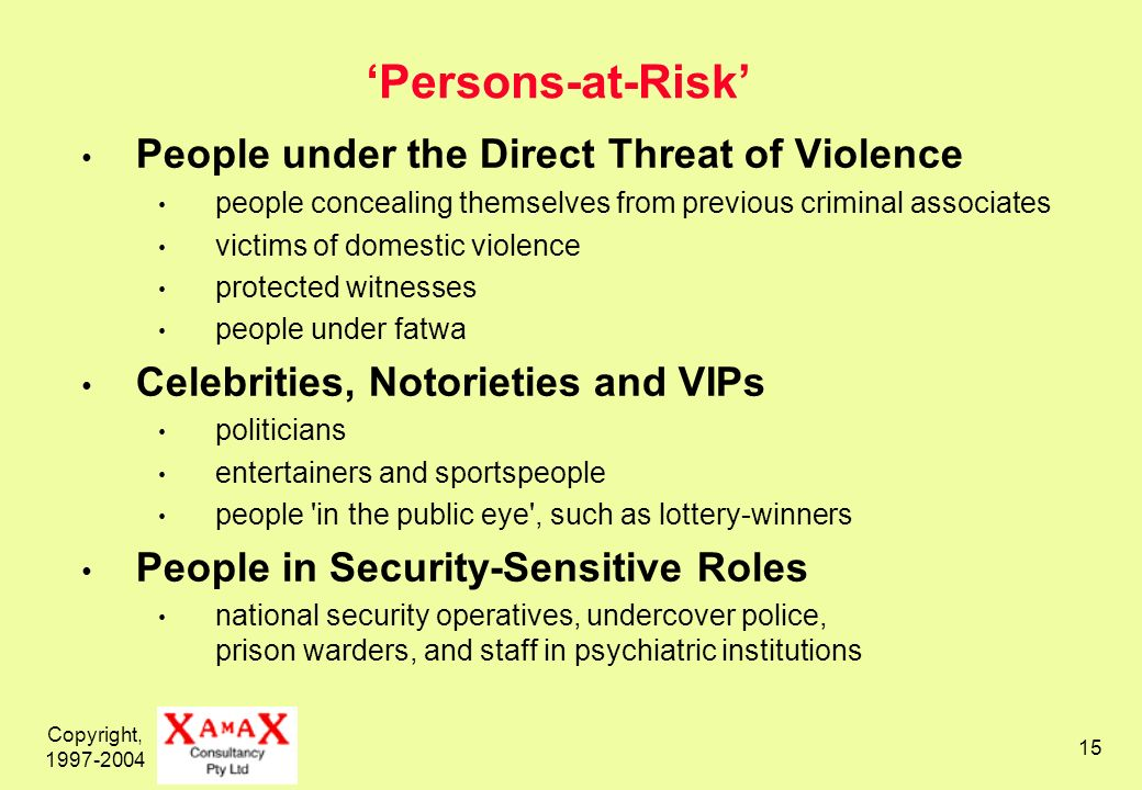 Copyright, Persons-at-Risk People under the Direct Threat of Violence people concealing themselves from previous criminal associates victims of domestic violence protected witnesses people under fatwa Celebrities, Notorieties and VIPs politicians entertainers and sportspeople people in the public eye , such as lottery-winners People in Security-Sensitive Roles national security operatives, undercover police, prison warders, and staff in psychiatric institutions