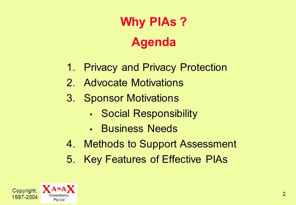 Copyright, 1997-2004 33 Benefits of a P.I.A.