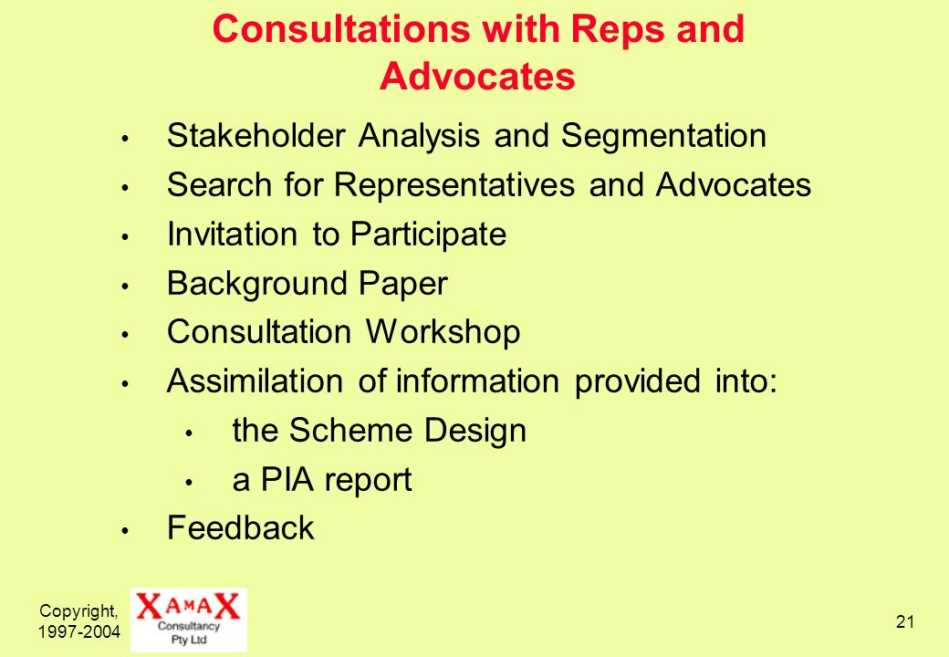 Copyright, Consultations with Reps and Advocates Stakeholder Analysis and Segmentation Search for Representatives and Advocates Invitation to Participate Background Paper Consultation Workshop Assimilation of information provided into: the Scheme Design a PIA report Feedback