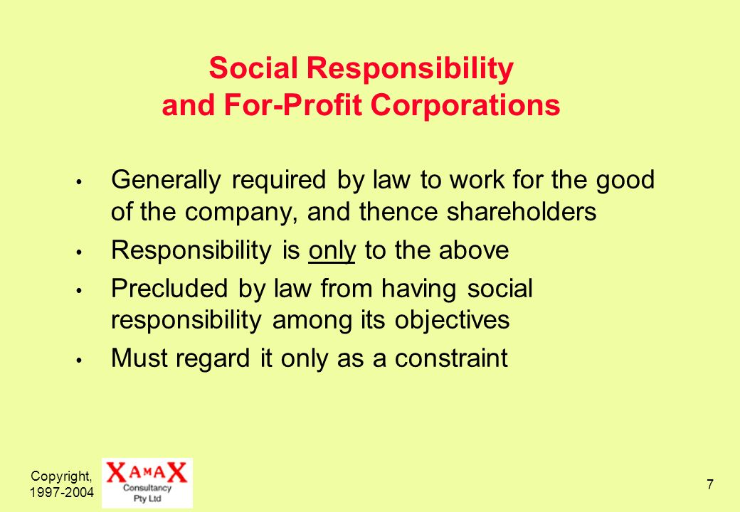 Copyright, 1997-2004 8 Social Responsibility, and Not-For-Profits, Associations, NGOs Generally not precluded by law from considering social responsibility Many have value-systems and objectives that lean towards social responsibility For some, social responsibility is central to their value-system and their objectives