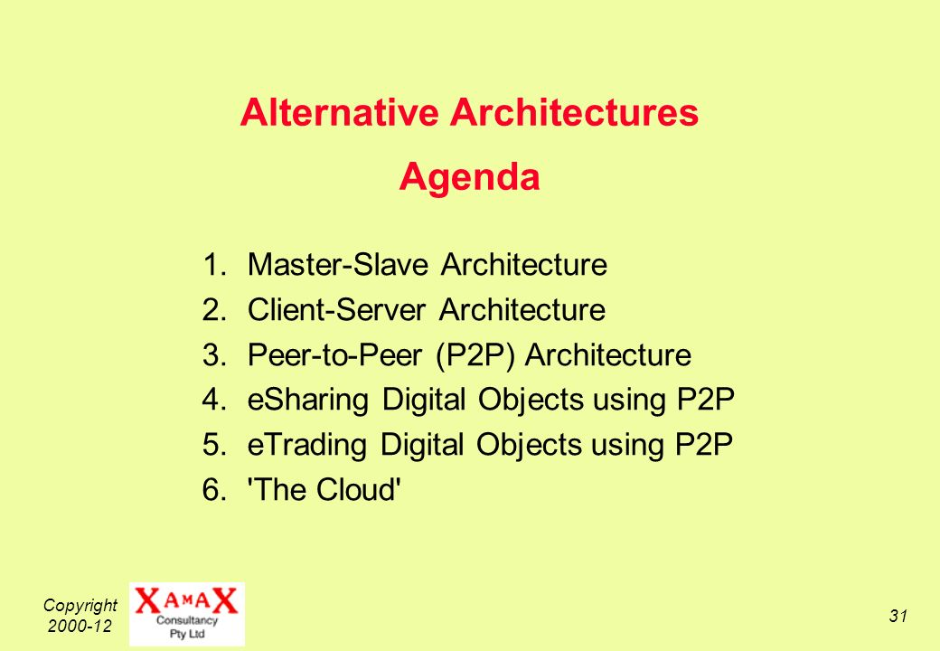 Copyright 2000-12 31 Alternative Architectures Agenda 1.Master-Slave Architecture 2.Client-Server Architecture 3.Peer-to-Peer (P2P) Architecture 4.eSharing Digital Objects using P2P 5.eTrading Digital Objects using P2P 6. The Cloud