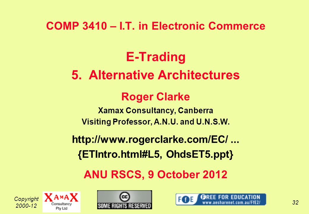 Copyright 2000-12 32 COMP 3410 – I.T. in Electronic Commerce E-Trading 5.