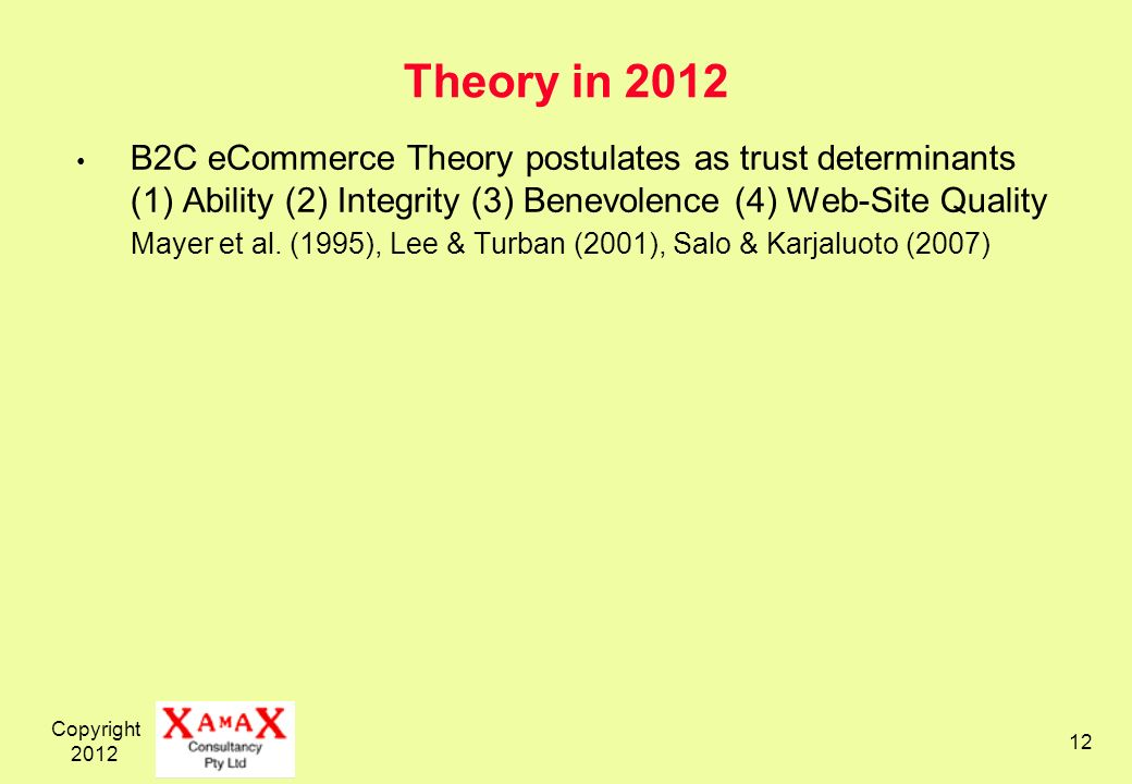 Copyright Theory in 2012 B2C eCommerce Theory postulates as trust determinants (1) Ability (2) Integrity (3) Benevolence (4) Web-Site Quality Mayer et al.