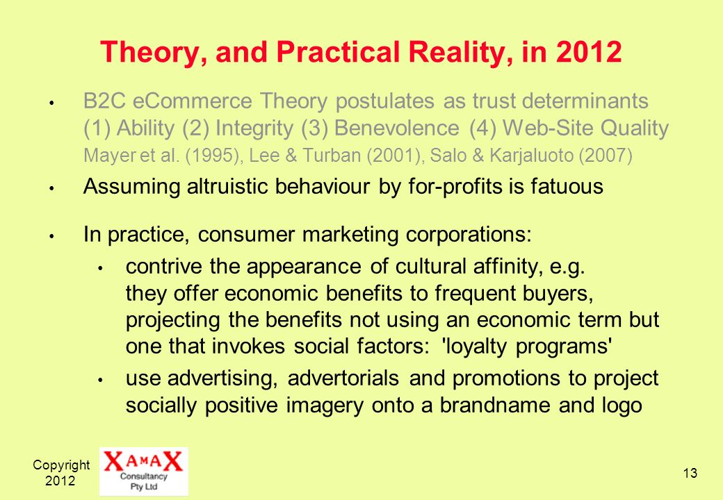 Copyright Theory, and Practical Reality, in 2012 B2C eCommerce Theory postulates as trust determinants (1) Ability (2) Integrity (3) Benevolence (4) Web-Site Quality Mayer et al.