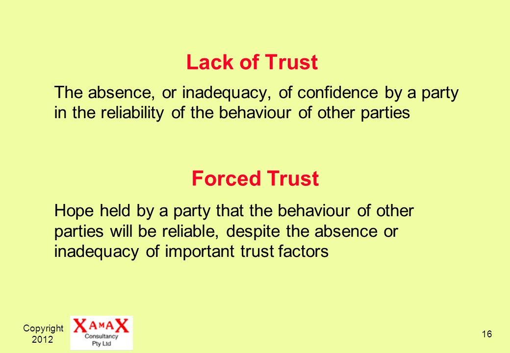 Copyright Lack of Trust The absence, or inadequacy, of confidence by a party in the reliability of the behaviour of other parties Hope held by a party that the behaviour of other parties will be reliable, despite the absence or inadequacy of important trust factors Forced Trust