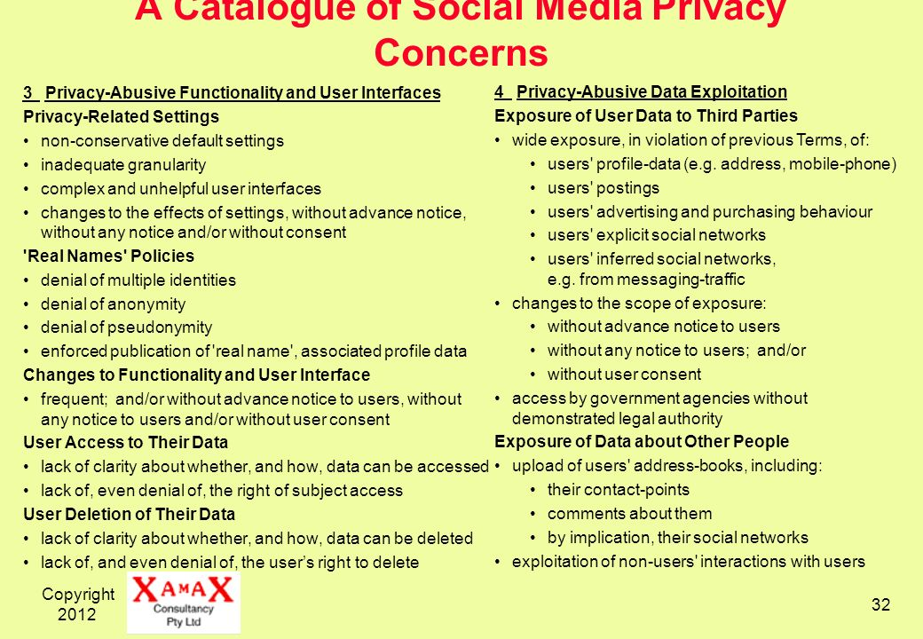 Copyright A Catalogue of Social Media Privacy Concerns 3 Privacy-Abusive Functionality and User Interfaces Privacy-Related Settings non-conservative default settings inadequate granularity complex and unhelpful user interfaces changes to the effects of settings, without advance notice, without any notice and/or without consent Real Names Policies denial of multiple identities denial of anonymity denial of pseudonymity enforced publication of real name , associated profile data Changes to Functionality and User Interface frequent; and/or without advance notice to users, without any notice to users and/or without user consent User Access to Their Data lack of clarity about whether, and how, data can be accessed lack of, even denial of, the right of subject access User Deletion of Their Data lack of clarity about whether, and how, data can be deleted lack of, and even denial of, the users right to delete 4 Privacy-Abusive Data Exploitation Exposure of User Data to Third Parties wide exposure, in violation of previous Terms, of: users profile-data (e.g.