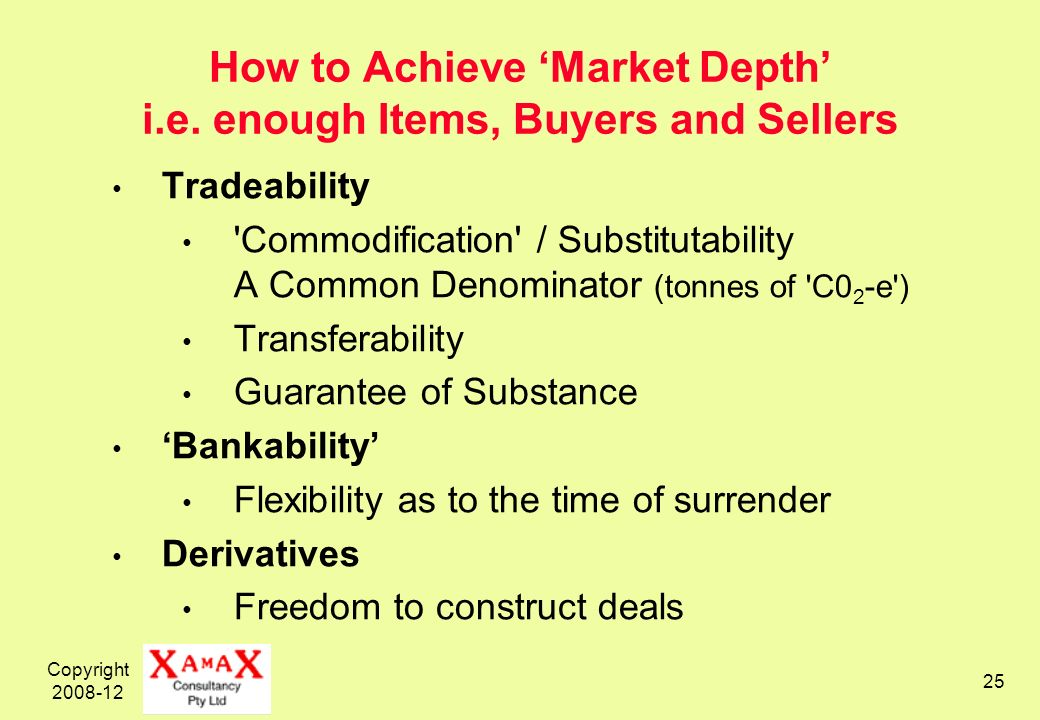 Copyright 2008-12 25 How to Achieve Market Depth i.e. enough Items, Buyers and Sellers Tradeability 'Commodification' / Substitutability A Common Deno