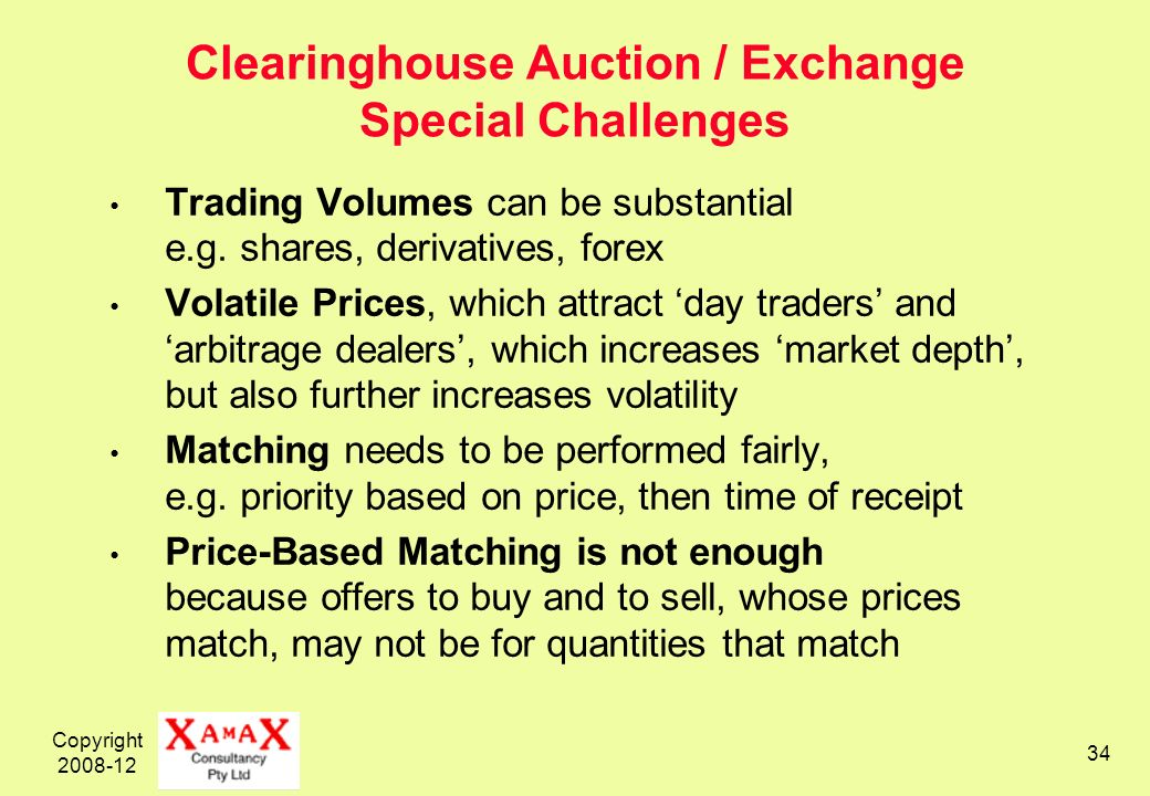 Copyright 2008-12 34 Clearinghouse Auction / Exchange Special Challenges Trading Volumes can be substantial e.g. shares, derivatives, forex Volatile P