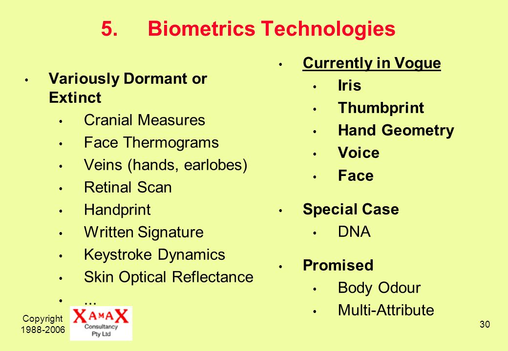 Copyright 1988-2006 30 5.Biometrics Technologies Variously Dormant or Extinct Cranial Measures Face Thermograms Veins (hands, earlobes) Retinal Scan Handprint Written Signature Keystroke Dynamics Skin Optical Reflectance...