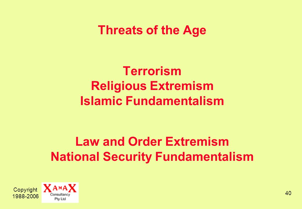 Copyright 1988-2006 40 Threats of the Age Terrorism Religious Extremism Islamic Fundamentalism Law and Order Extremism National Security Fundamentalism