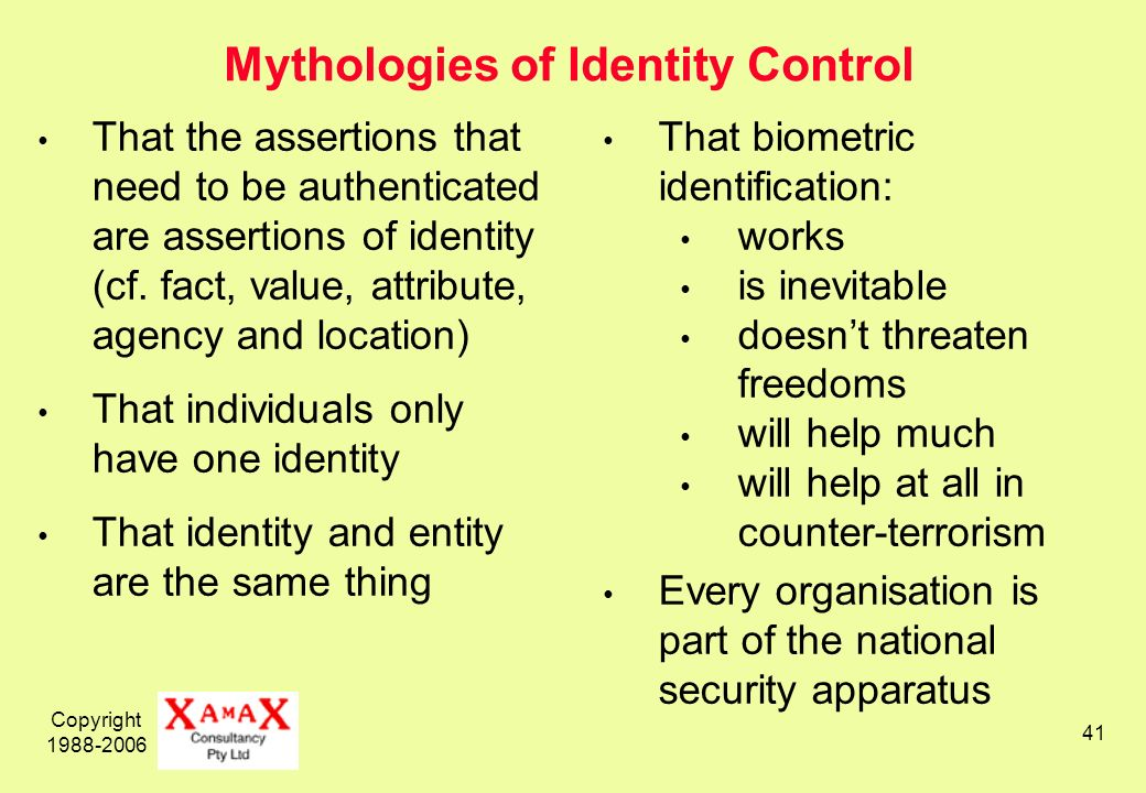 Copyright 1988-2006 41 Mythologies of Identity Control That the assertions that need to be authenticated are assertions of identity (cf.