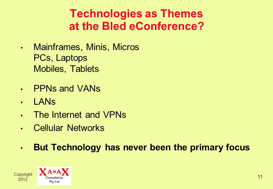 Copyright 2012 11 Technologies as Themes at the Bled eConference.