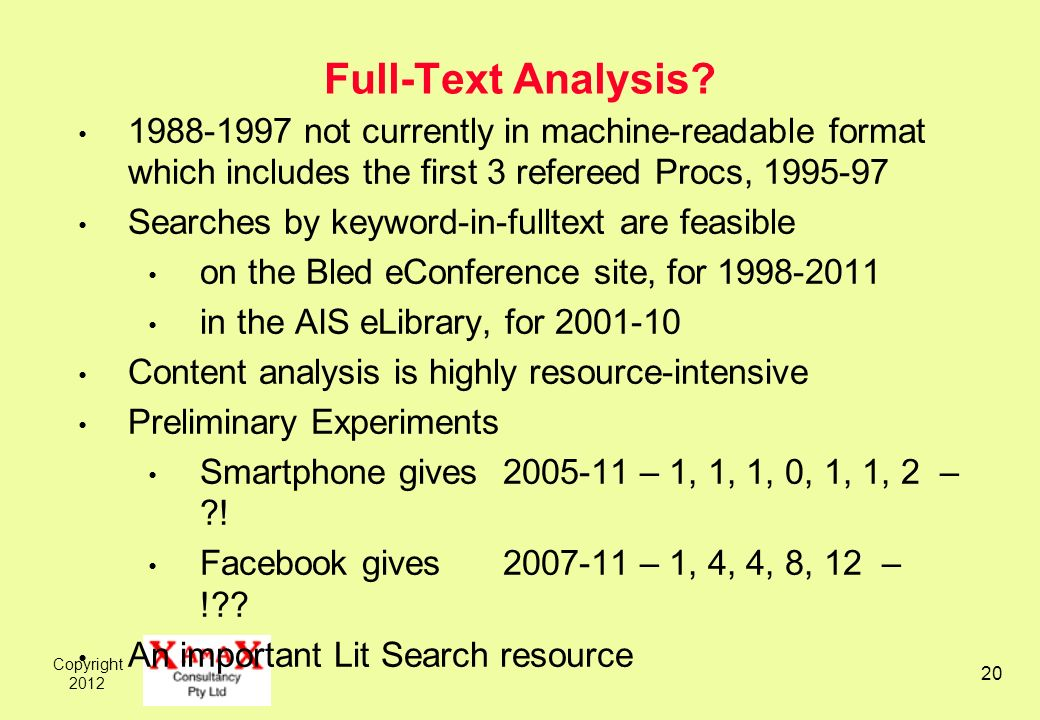 Copyright 2012 20 Full-Text Analysis? 1988-1997 not currently in machine-readable format which includes the first 3 refereed Procs, 1995-97 Searches b