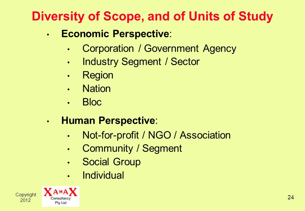 Copyright 2012 24 Diversity of Scope, and of Units of Study Economic Perspective: Corporation / Government Agency Industry Segment / Sector Region Nation Bloc Human Perspective: Not-for-profit / NGO / Association Community / Segment Social Group Individual