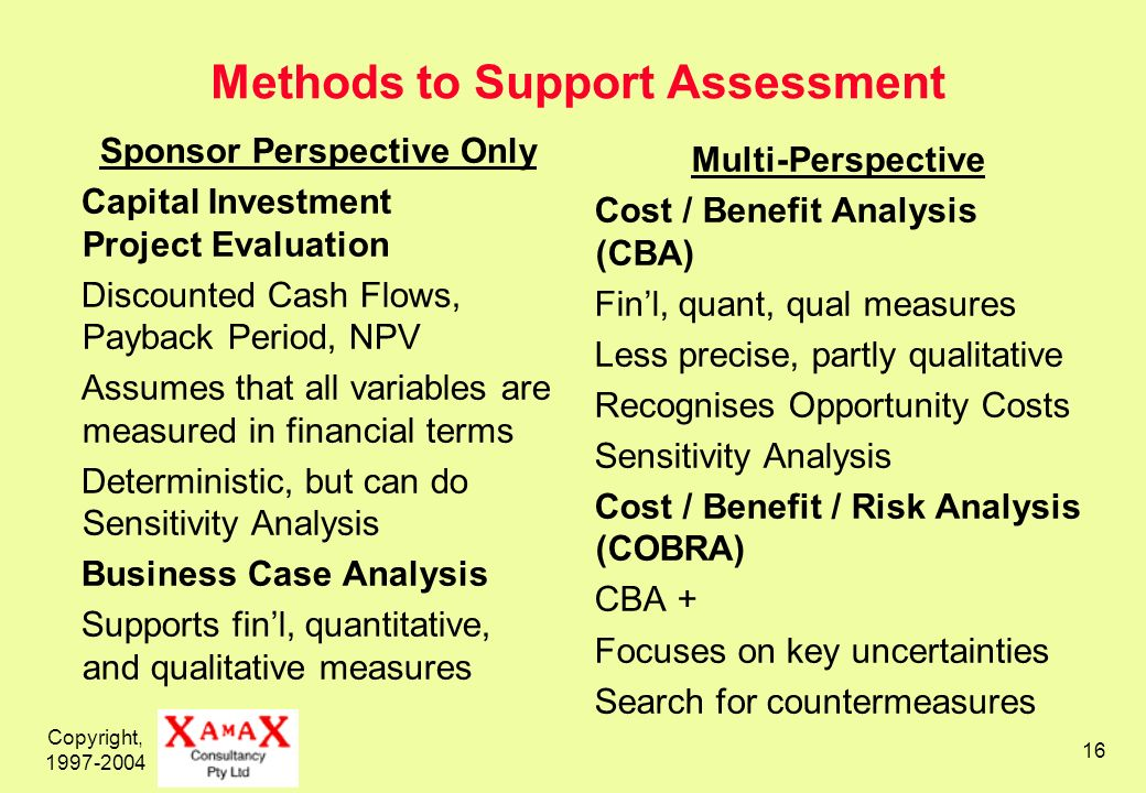 Copyright, 1997-2004 16 Methods to Support Assessment Sponsor Perspective Only Capital Investment Project Evaluation Discounted Cash Flows, Payback Period, NPV Assumes that all variables are measured in financial terms Deterministic, but can do Sensitivity Analysis Business Case Analysis Supports finl, quantitative, and qualitative measures Multi-Perspective Cost / Benefit Analysis (CBA) Finl, quant, qual measures Less precise, partly qualitative Recognises Opportunity Costs Sensitivity Analysis Cost / Benefit / Risk Analysis (COBRA) CBA + Focuses on key uncertainties Search for countermeasures