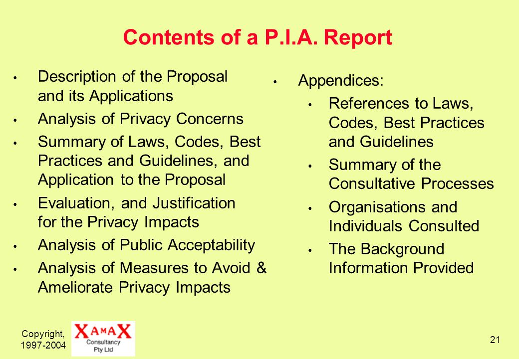 Copyright, 1997-2004 21 Contents of a P.I.A. Report Description of the Proposal and its Applications Analysis of Privacy Concerns Summary of Laws, Cod
