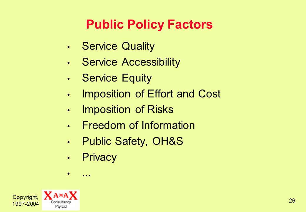 Copyright, 1997-2004 26 Public Policy Factors Service Quality Service Accessibility Service Equity Imposition of Effort and Cost Imposition of Risks F