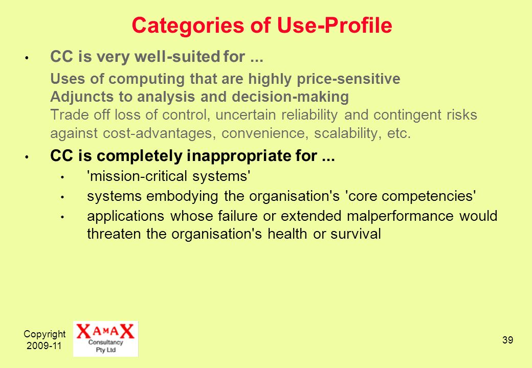 Copyright 2009-11 39 Categories of Use-Profile CC is very well-suited for...