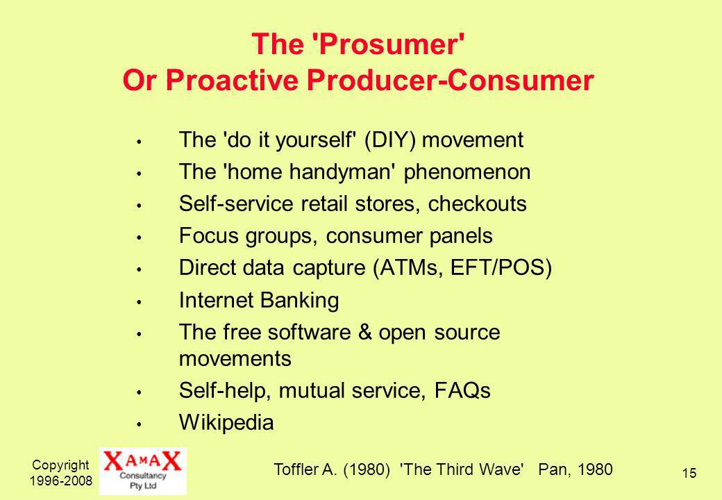 Copyright 1996-2008 15 The Prosumer Or Proactive Producer-Consumer The do it yourself (DIY) movement The home handyman phenomenon Self-service retail stores, checkouts Focus groups, consumer panels Direct data capture (ATMs, EFT/POS) Internet Banking The free software & open source movements Self-help, mutual service, FAQs Wikipedia Toffler A.