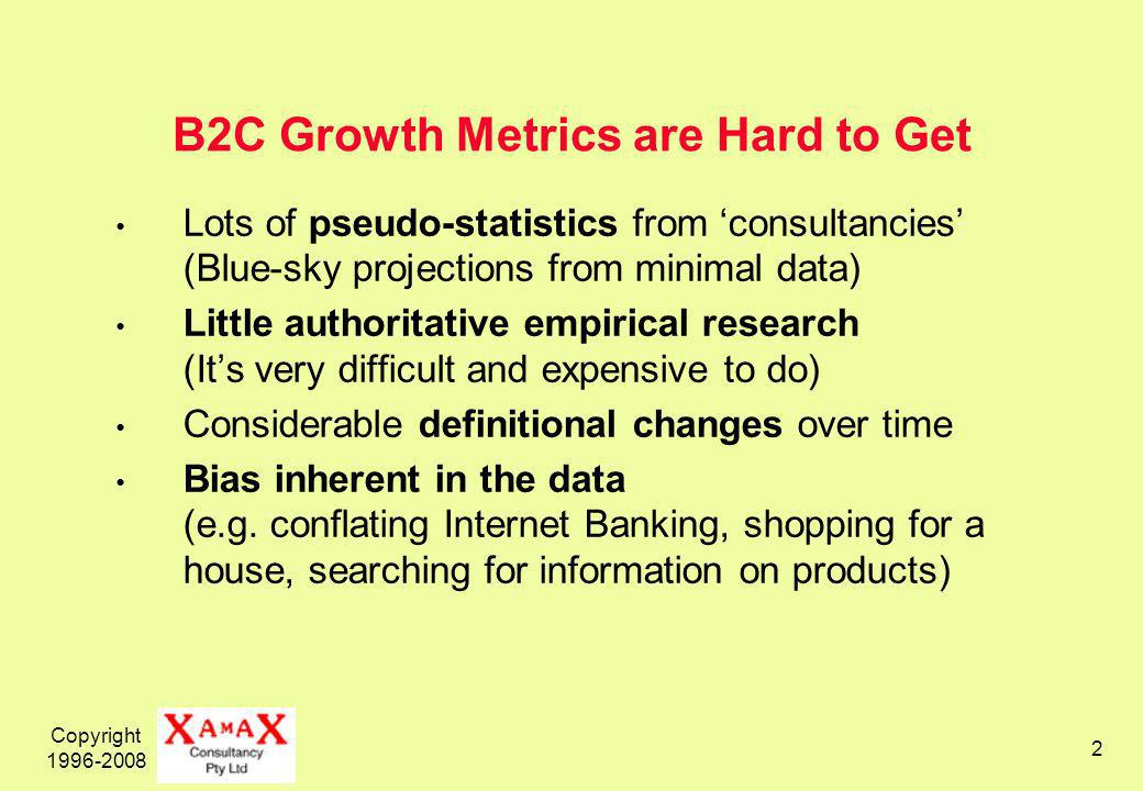 Copyright 1996-2008 2 B2C Growth Metrics are Hard to Get Lots of pseudo-statistics from consultancies (Blue-sky projections from minimal data) Little authoritative empirical research (Its very difficult and expensive to do) Considerable definitional changes over time Bias inherent in the data (e.g.