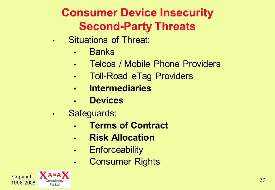 Copyright 1996-2008 30 Consumer Device Insecurity Second-Party Threats Situations of Threat: Banks Telcos / Mobile Phone Providers Toll-Road eTag Providers Intermediaries Devices Safeguards: Terms of Contract Risk Allocation Enforceability Consumer Rights