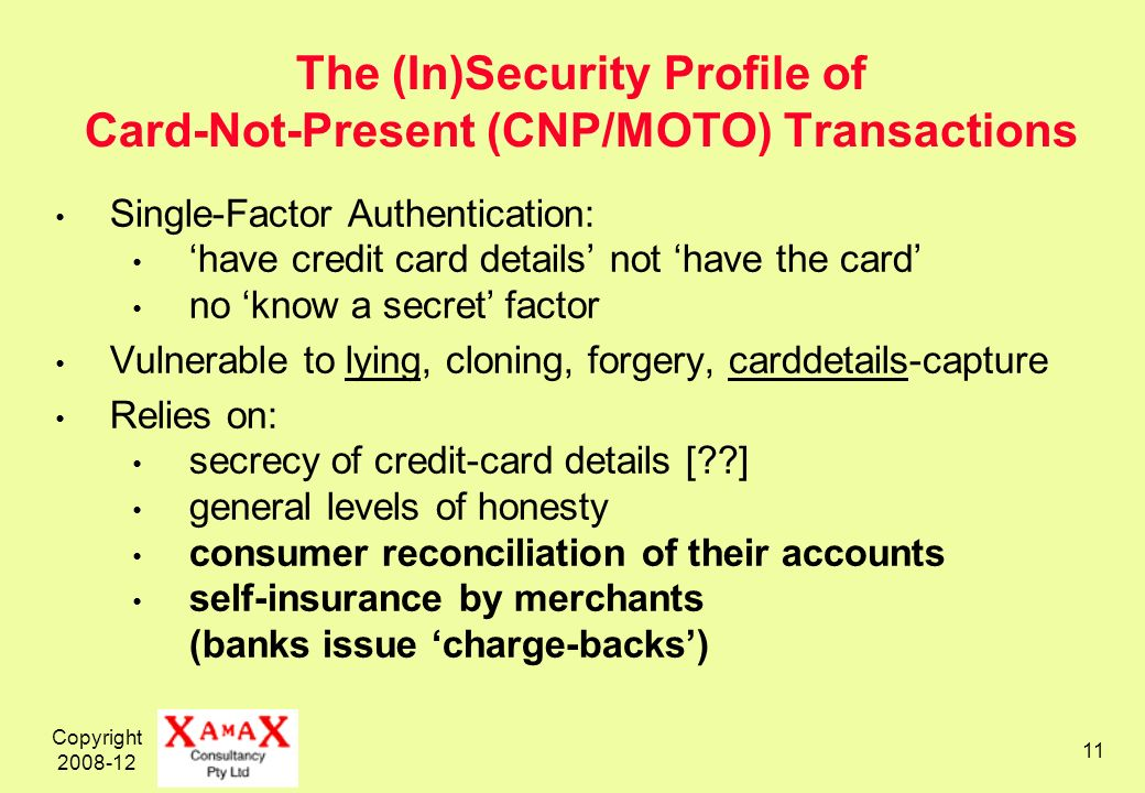Copyright 2008-12 11 The (In)Security Profile of Card-Not-Present (CNP/MOTO) Transactions Single-Factor Authentication: have credit card details not have the card no know a secret factor Vulnerable to lying, cloning, forgery, carddetails-capture Relies on: secrecy of credit-card details [??] general levels of honesty consumer reconciliation of their accounts self-insurance by merchants (banks issue charge-backs)