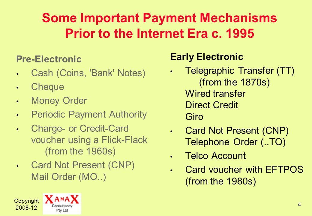 Copyright 2008-12 4 Some Important Payment Mechanisms Prior to the Internet Era c.