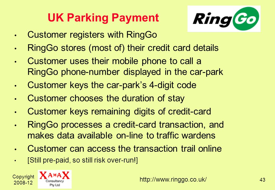Copyright 2008-12 43 UK Parking Payment Customer registers with RingGo RingGo stores (most of) their credit card details Customer uses their mobile ph