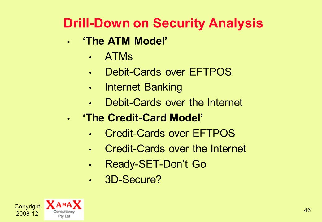 Copyright 2008-12 46 Drill-Down on Security Analysis The ATM Model ATMs Debit-Cards over EFTPOS Internet Banking Debit-Cards over the Internet The Credit-Card Model Credit-Cards over EFTPOS Credit-Cards over the Internet Ready-SET-Dont Go 3D-Secure?