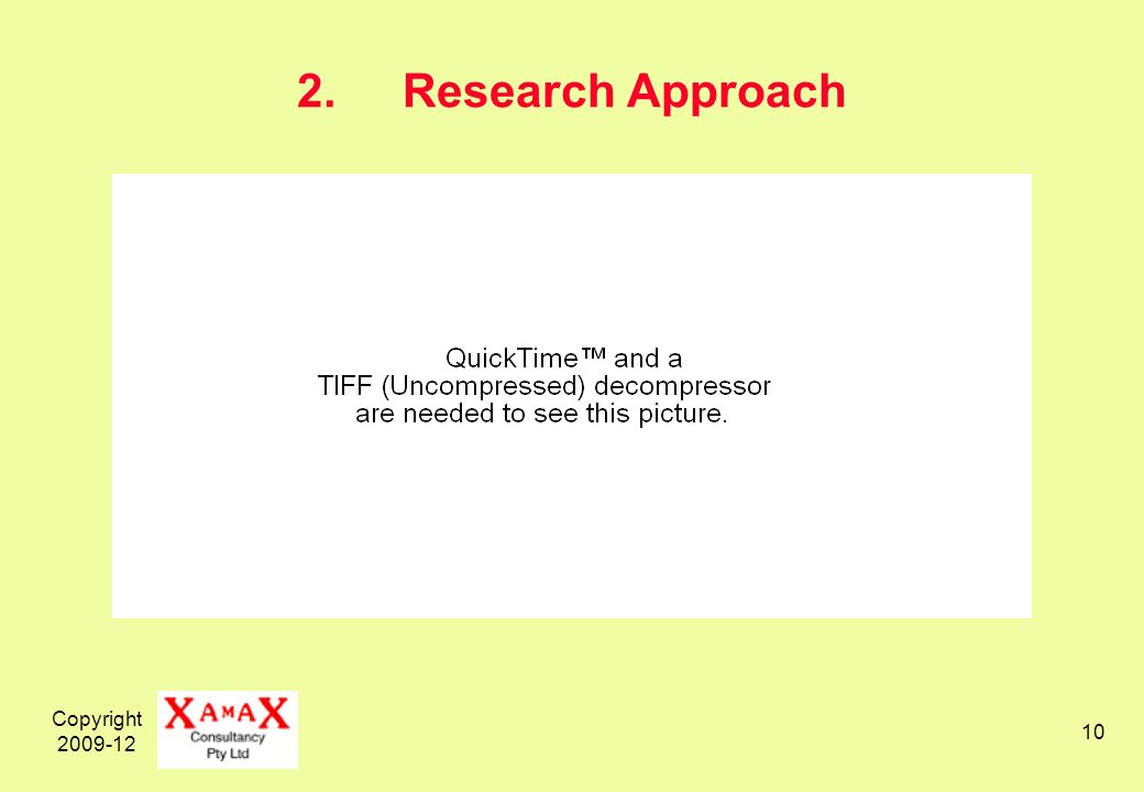 Copyright 2009-12 10 2.Research Approach