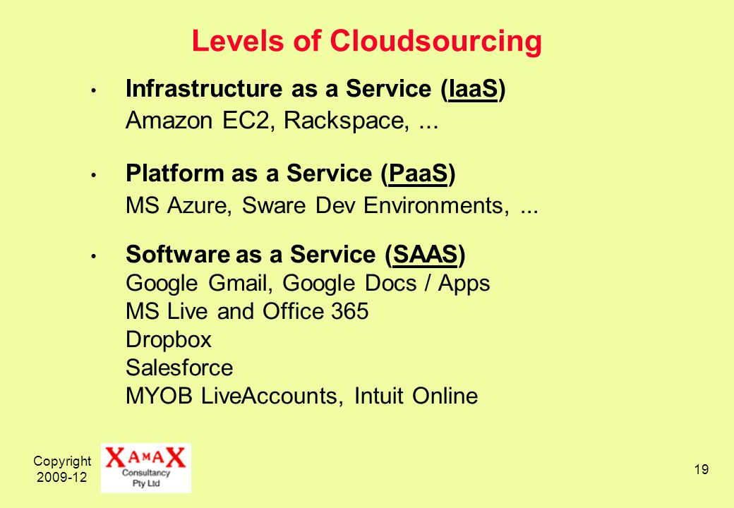 Copyright 2009-12 19 Levels of Cloudsourcing Infrastructure as a Service (IaaS) Amazon EC2, Rackspace,...