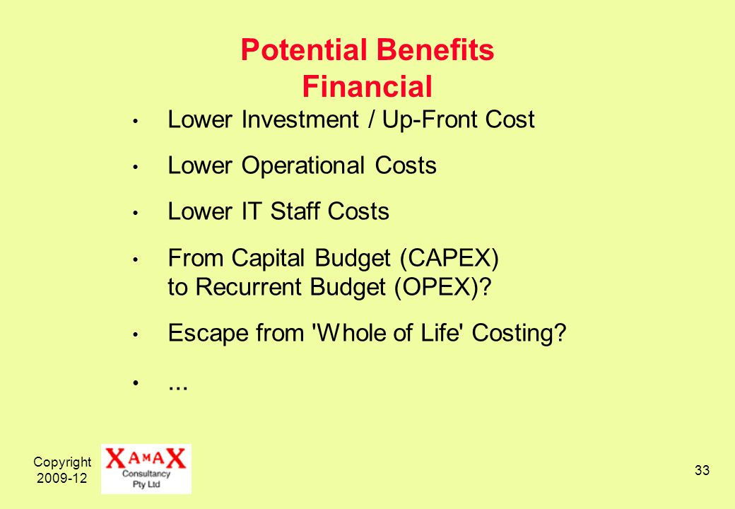 Copyright 2009-12 33 Potential Benefits Financial Lower Investment / Up-Front Cost Lower Operational Costs Lower IT Staff Costs From Capital Budget (C