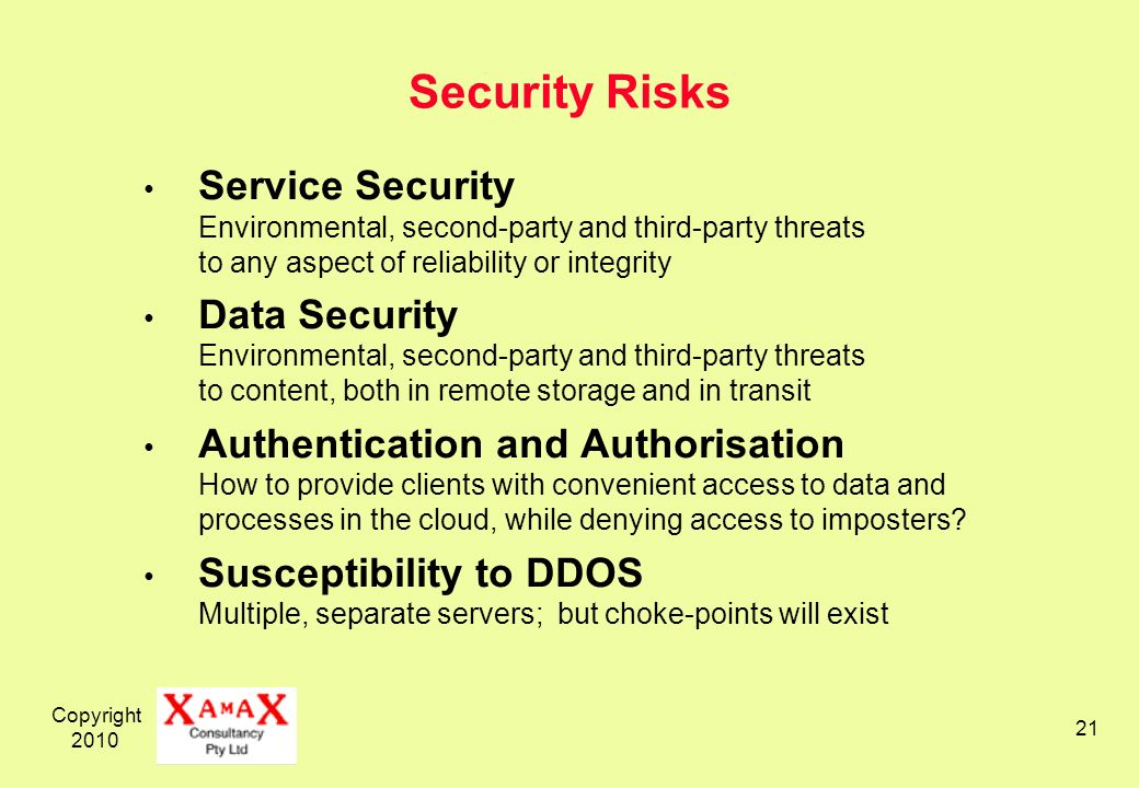 Copyright 2010 21 Security Risks Service Security Environmental, second-party and third-party threats to any aspect of reliability or integrity Data S