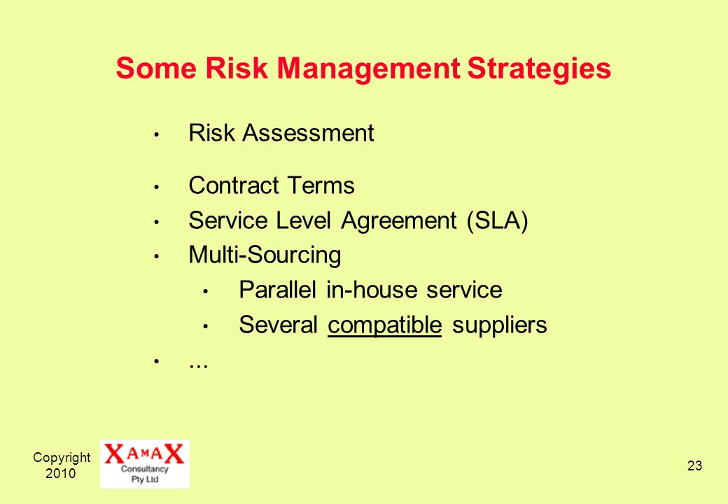 Copyright 2010 23 Some Risk Management Strategies Risk Assessment Contract Terms Service Level Agreement (SLA) Multi-Sourcing Parallel in-house servic