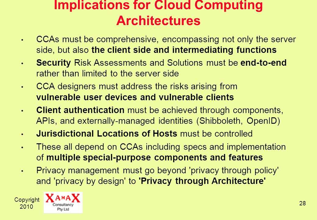 Copyright 2010 28 Implications for Cloud Computing Architectures CCAs must be comprehensive, encompassing not only the server side, but also the clien