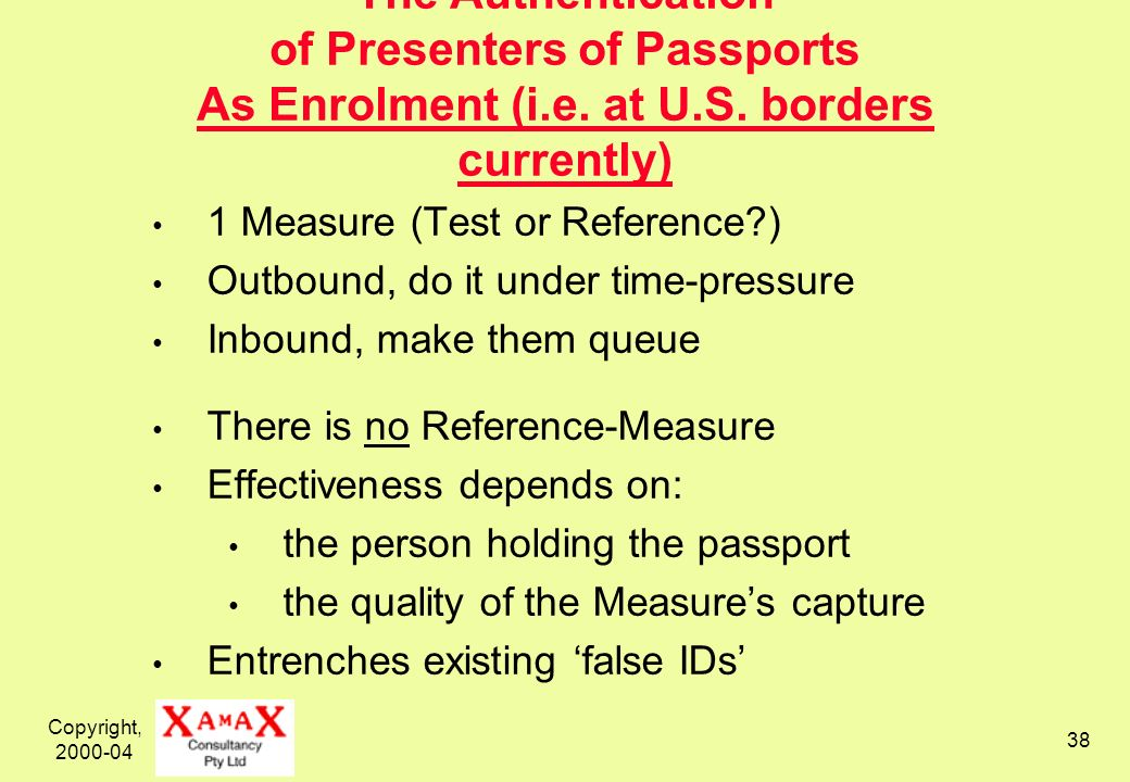 Copyright, 2000-04 38 The Authentication of Presenters of Passports As Enrolment (i.e. at U.S. borders currently) 1 Measure (Test or Reference?) Outbo